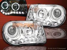 2005-2010 300C/LWB/SRT8 CCFL HALO LED PROJECTOR HEADLIGHTS CHROME HEAD LAMPS
