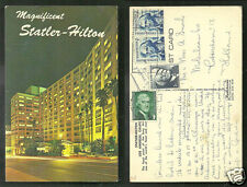 Los Angeles Statler Hilton Hotel California 4 stamps 60s