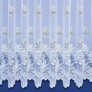 Natasha Top Quality Scalloped Net Curtain - Finished In White. Sold By The Metre