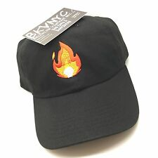 Black Fire Emoji Dad Cap Strapback Hat