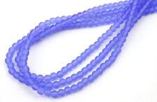 100 Sapphire Frost Czech Glass Round Beads 4MM