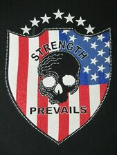 AKADEMIKS STRENGTH PREVAILS SKULL OVER AMERICAN EMBLEM LARGE BLACK T-SHIRT- B783