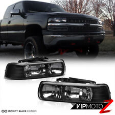 99-02 Chevy Silverado 00-06 Suburban/Tahoe 1500/2500 Black Crystal Headlight L+R