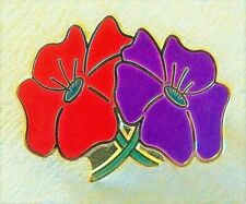 Remembering the People & Animals of War - Red / Purple Poppy enamel badge
