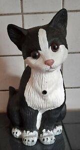 Bewegungsmelder Katze schwarz weiß Begrüßung Dekoration Dekofigur Neu