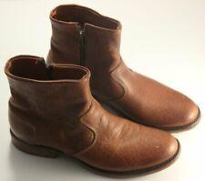 Vintage Shoe Company Tan Grain Leather Distressed Side Zip Biker Boots US 12