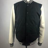 Vintage GUESS Grey White Varsity Jacket Button Front Long Sleeve Pocket Men Sz L