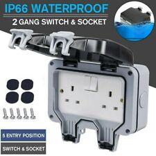 Double Power Electric Socket Switch 2 Gang Weatherproof Outdoor Garden Plug Box