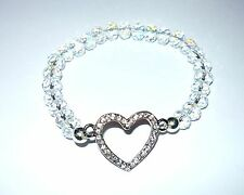 SPARKLY FACETTED AB CRYSTAL ABACUS BEAD STRETCH BRACELET W DIAMANTE HEART CENTRE