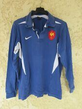 Maillot rugby QUINZE de FRANCE 2003 NIKE coton shirt bleu home vintage L