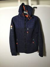 Superdry Mountain Womens Blue Hoodie Jacket Hiking Size M Long Sleeve Good Condt
