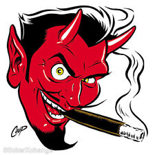MINI Smokin' Devil Head STICKER Decal Poster Art Coop (Right Facing) CP10BR Roth