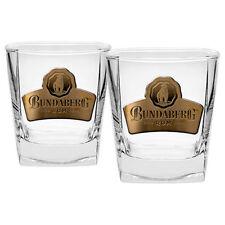 Bundy Bundaberg Rum Spirit Glasses BADGED Glass Set of 2 Bar Man Cave Gift