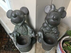 """Vintage Disney 1997 Mickey Mouse & Minnie Mouse Garden Planter Statues, 12"""" Tall"""
