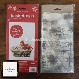 6 x SNOWFLAKES HAMPER BASKET Gift Cake CELLOPHANE DISPLAY BAG With Ties