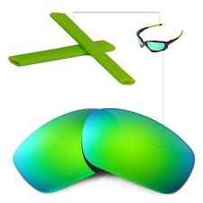 New Walleva Polarized Emerald Lenses And Green Earsocks For Oakley Racing Jacket