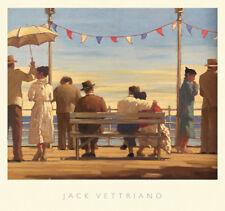 Jack Vettriano The Pier Beaches Dance Umbrellas Print Poster 28.5x26.5