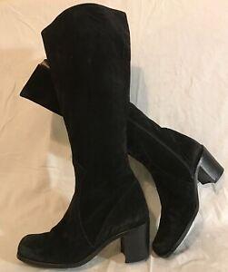 Juan Shoes Black Knee High Suede Boots Size 38 (929vv)