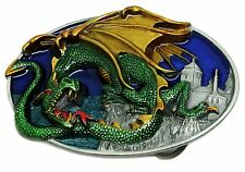 Dragon & Castle Belt Buckle Mythical Fantasy Themed Authentic Dragon Designs