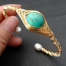 Freshwater White Rice Pearl Blue Turquoise Handmade Gold Plated Bangle Bracelet