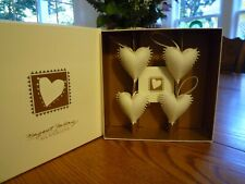 Margaret Furlong All Four Wings Love Boxed Set of 4 Bisque Heart Ornaments 1995