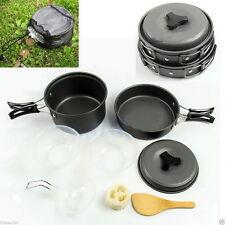 8PCS Outdoor Camping Hiking Cookware Backpacking Cooking Picnic Bowl Pot Pan UK