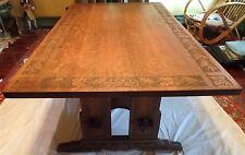 "L&JG STICKLEY TRESTLE TABLE 36"" x 60"" w/Carved Top, Base & Feet. ARTS & CRAFTS"