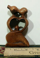 Small Hard Wood Abstract Art Sculpture, Hand Carved Made in Bali, Indonesia, NEW
