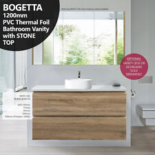 BOGETTA 1200mm White Oak PVC THERMAL FOIL Timber Wood Grain Vanity w Stone Top