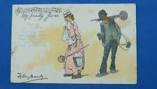 Vintage D Hardy Christmas Comic Song Postcard 1900s Chimney Sweep MY PRETTY JANE