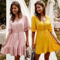 Women's Sexy Slim Ruffle Midi Dress Lady V Neck  Lotus Sleeve Ball Gown Dresses