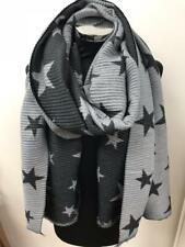 Ladies Star Scarf Black & Grey Reversible Stars Crinkle Wool Cotton Mix UK SOFT