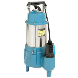 1.5HP Submersible Sewage Pump Sub Pump 7100 GPH Cast Iron Impeller with Handle