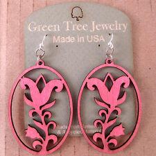 wood earrings in Pink 1182 tulip Flower Oval Green Tree Jewelry laser-cut
