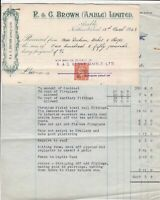 Amble R. & G. Brown Limited 1949 Builders Con Invoice & Stamp Receipts Ref 38887