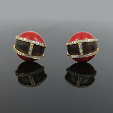 Vintage 0.61ct Diamond Ox Blood Red Coral & Wood 18K Yellow Gold Earrings