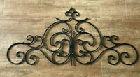 """Scroll Wrought Iron 35"""" vintage wall hanging fence door architectural salvage"""