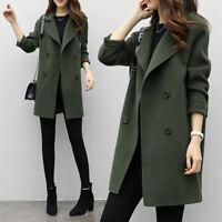 Women Winter Warm Trench Parka Long Slim Coat Outwear Long Lapel Wool Jacket US