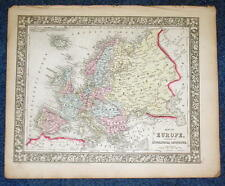 Origial 1860 Mitchell Map of Europe, showing GT Political Divisions 12.5 X 15.25