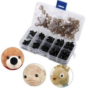 142pcs Black Plastic Doll Safety Eyes for Bear Stuffed Toys Snap Animal CS