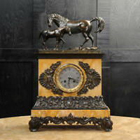 MARE and FOAL ~ EARLY FRENCH BRONZE SIENNA MARBLE CLOCK SILK SUSPENSION C1820