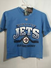 "Winnipeg Jets NHL Blue Tshirt Size Youth Medium  ""Old Timers Hockey"" 34 bust"