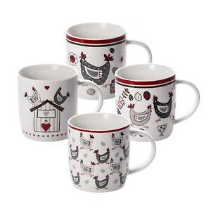 Mugs Cups Set 4 Coffee Tea Porcelain China Chicken Hen Design Gift Animal Lovers