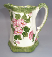 Vintage CASH FAMILY Pottery Creamer Pitcher Jug Hand Painted Pink Green