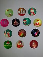25MM Mixed Christmas Themed Glass Cabochons Dome Flatback Round NEW 3PC. DIY