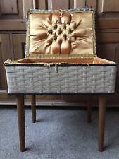 Vintage Retro 70s Sewing Basket With Beech Legs