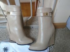 NEW GIVENCHY SHARK LOCK BEIGE LEATHER WEDGE ANKLE BOOTS, SIZE 6.5,