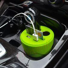 Car Cup Holder Charger Power 2 Cigarette Adapter Light Socket Dual USB 12V Green