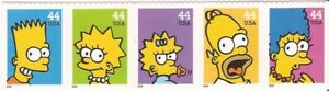 US Stamp - 2009 The Simpsons - 5 Stamp Strip - Scott #4399-403