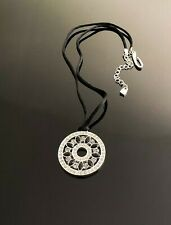 Givenchy black & silver Crystal Disc Medallion necklace NEW